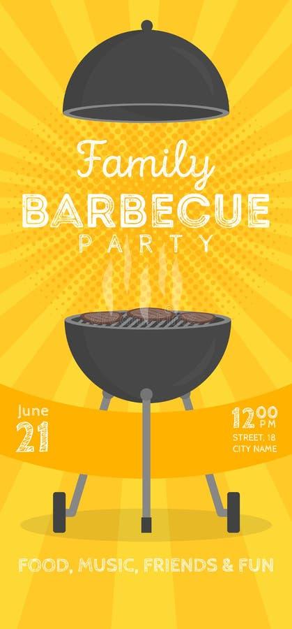 Molde bonito do projeto do convite do partido do assado do vetor Projeto na moda do cartaz do cookout do BBQ ilustração stock