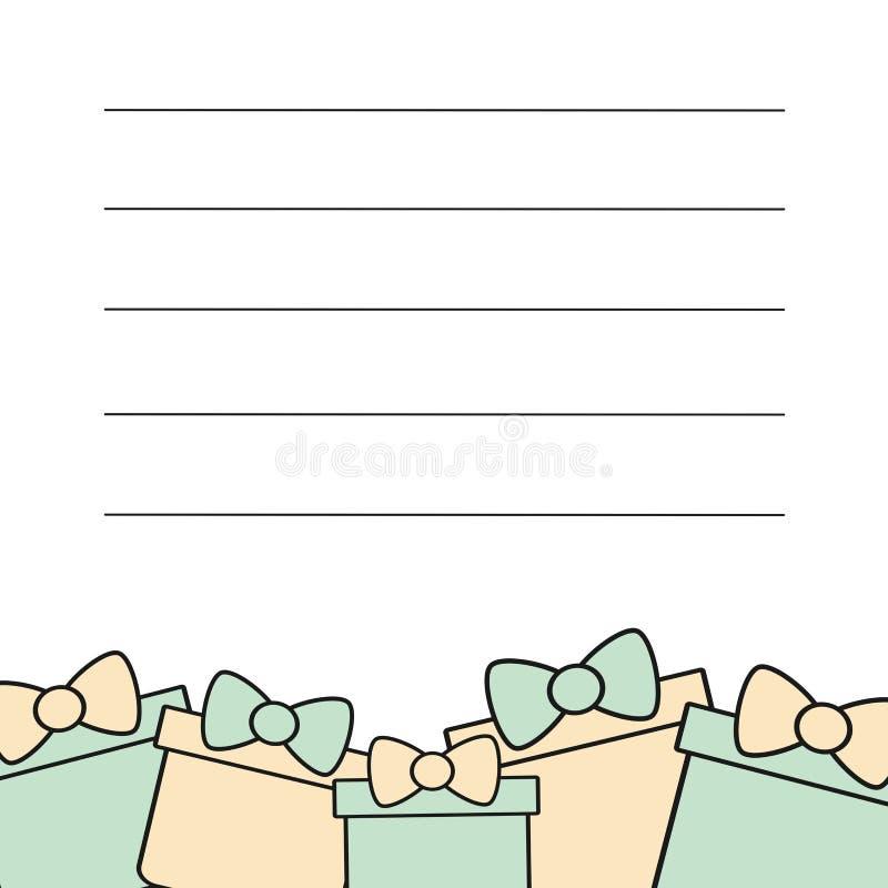 Molde bonito do quadro de cartão para o cumprimento, o convite e as notas com caixa de presente bonita ilustração royalty free