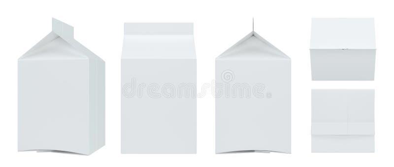 Molde branco ajustado do bloco da caixa para a bebida: suco, leite Vista dianteira e lateral Coleção de empacotamento rendição 3d ilustração do vetor