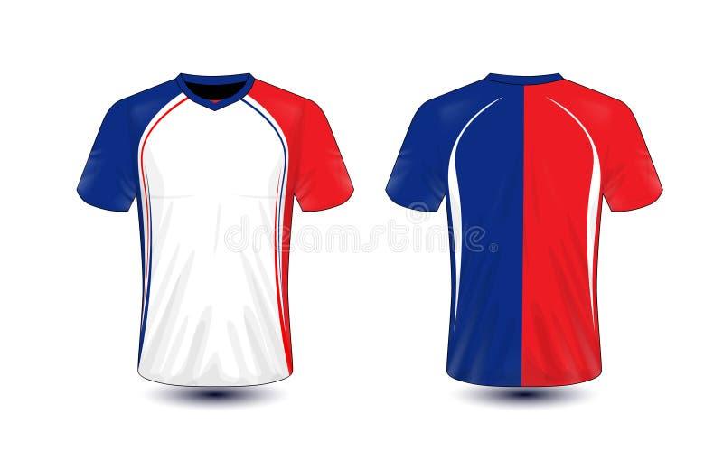Molde branco, azul e vermelho do projeto do t-shirt do e-esporte da disposição ilustração royalty free