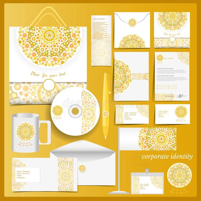 Molde branco da identidade corporativa com elementos do mosaico amarelo ilustração stock