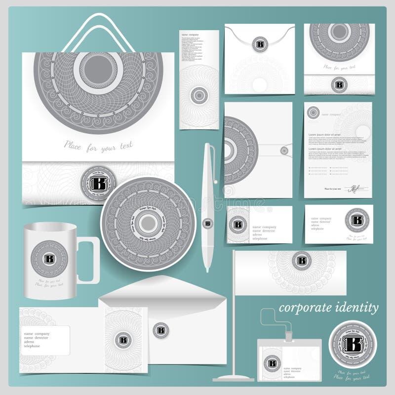 Molde branco da identidade corporativa com elementos spirographic do monograma do círculo ilustração stock