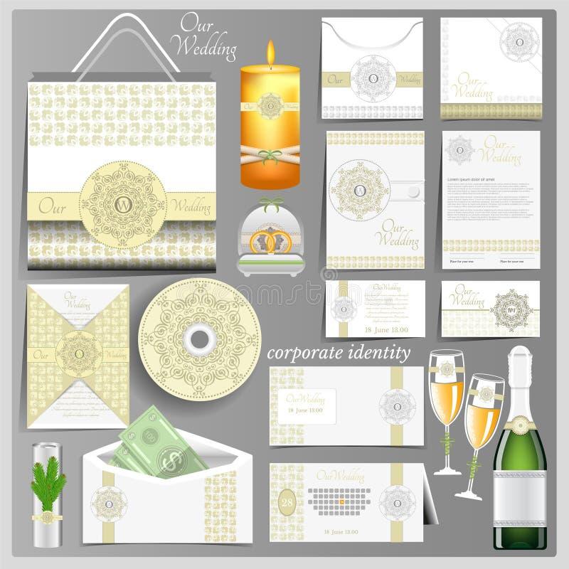 Molde branco da identidade corporativa do casamento Modelo do negócio com teste padrão árabe verde do estilo ilustração do vetor