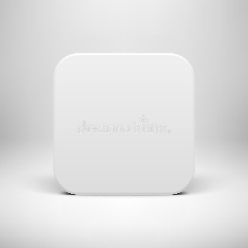 Molde branco do botão do ícone do App da placa ilustração royalty free