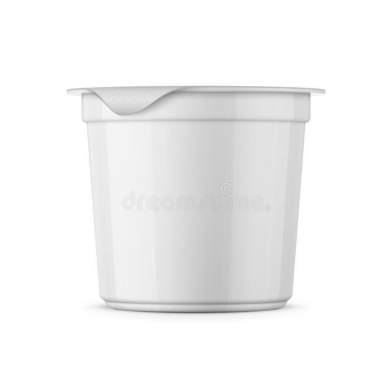 Molde branco do potenciômetro do iogurte ilustração stock