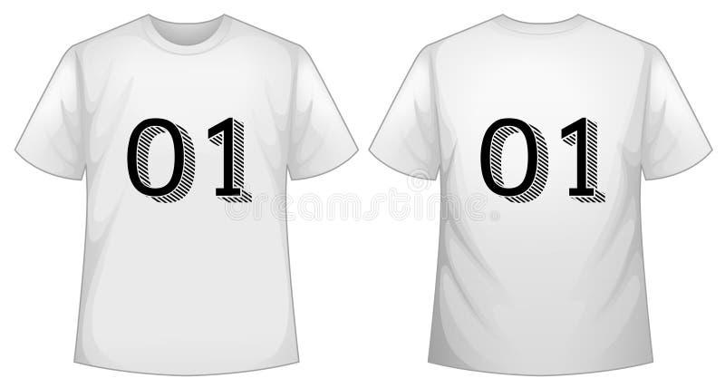 Molde branco do t-shirt com parte dianteira e parte traseira ilustração royalty free