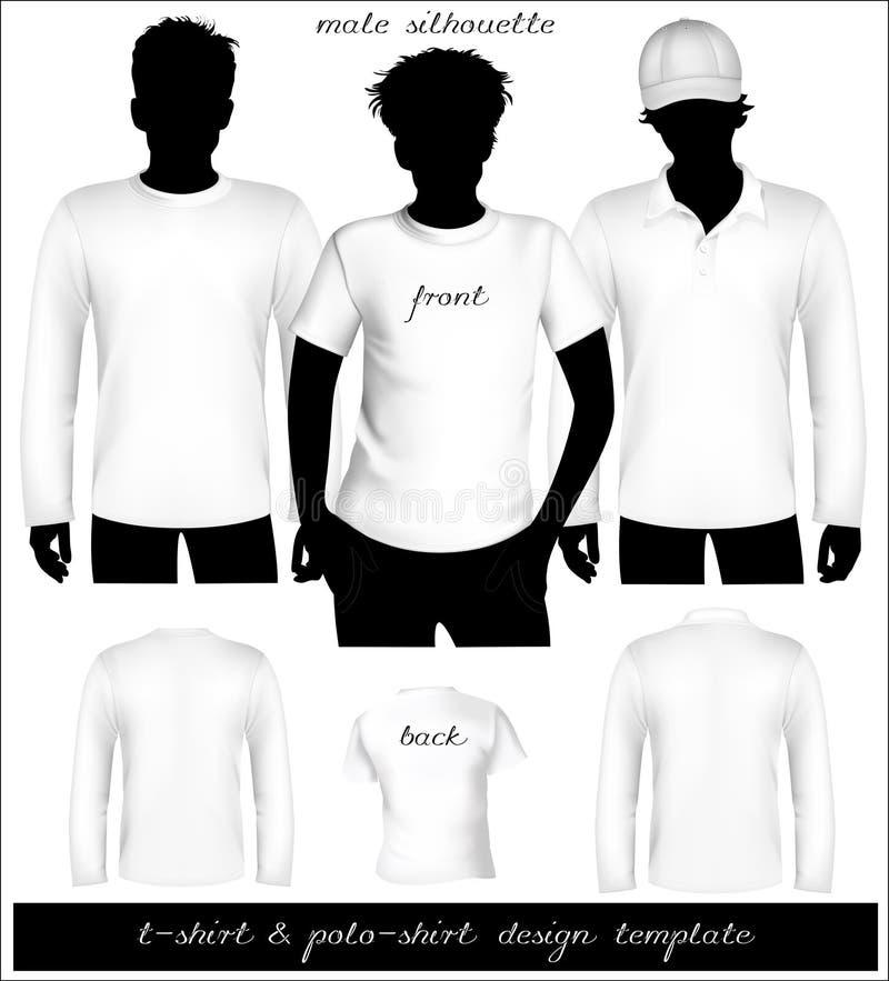 Molde branco do t-shirt dos homens e da camisa de polo com HU ilustração royalty free