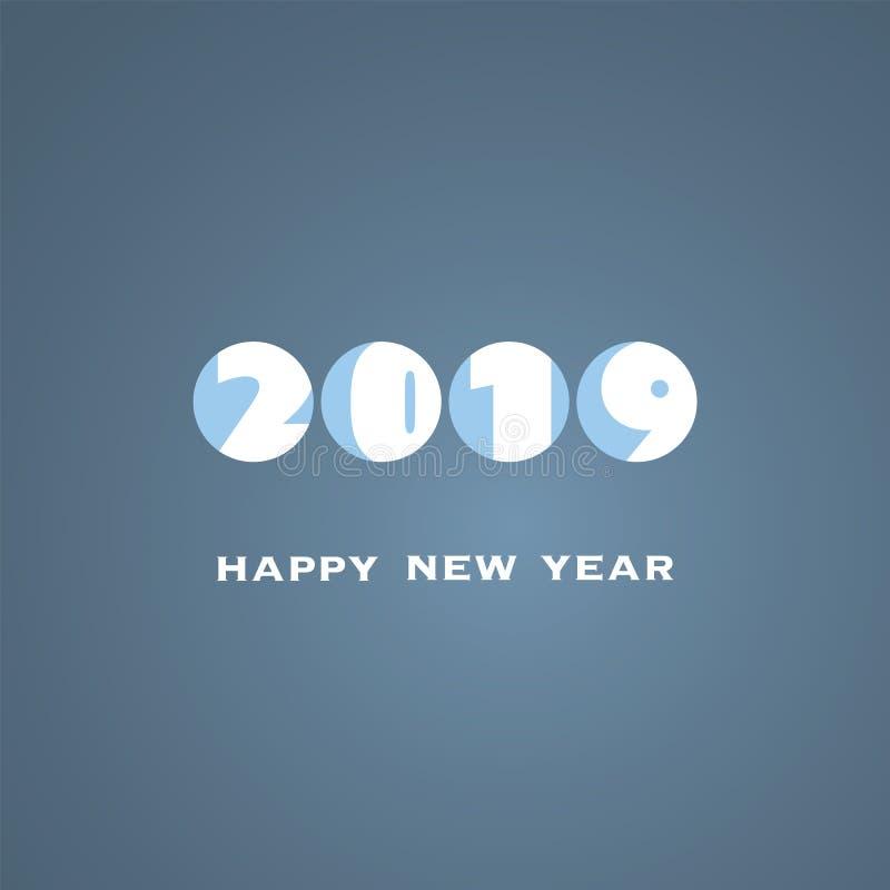 Molde branco e azul simples do projeto do cartão, da tampa ou do fundo do ano novo - 2019 ilustração royalty free