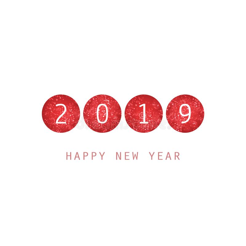 Molde branco e vermelho simples do projeto do cartão, da tampa ou do fundo do ano novo - 2019 ilustração do vetor