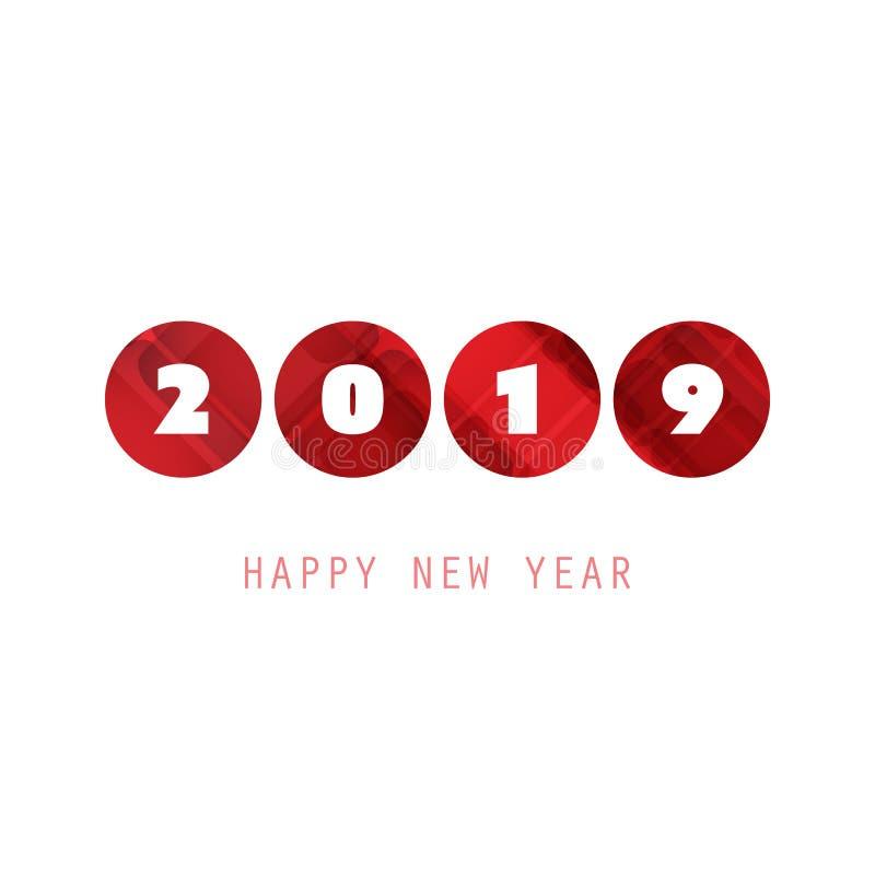 Molde branco e vermelho simples do projeto do cartão, da tampa ou do fundo do ano novo - 2019 ilustração stock