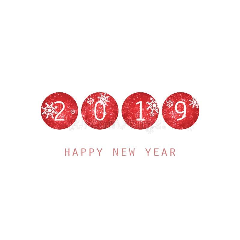 Molde branco e vermelho simples do projeto do cartão, da tampa ou do fundo do ano novo - 2019 ilustração royalty free