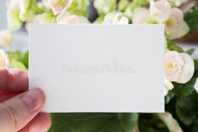 Molde branco vazio do cartão da visita na mão do ` s da mulher com as flores no fundo Modelo imagem de stock
