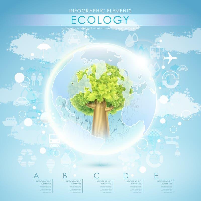 Molde brilhante da ecologia do vetor com árvore e terra ilustração stock