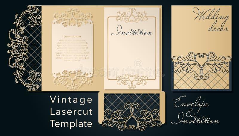 Molde a céu aberto para o corte do laser Envelope decorativo do convite do casamento de Swirly ilustração royalty free