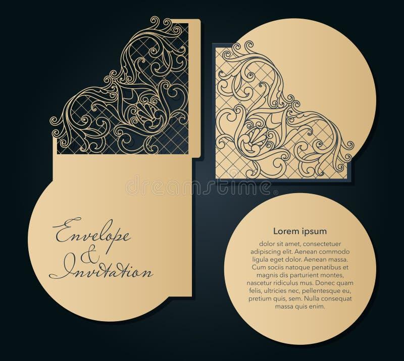 Molde a céu aberto para o corte do laser Envelope decorativo do convite do casamento de Swirly ilustração stock