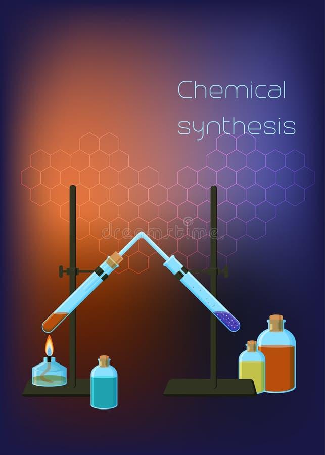 Molde científico do fundo da química com tripé e queimador e garrafas conectados do espírito dos tubos de ensaio com reagentes ilustração do vetor