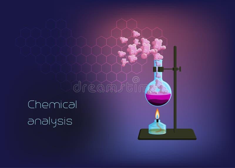 Molde científico químico do fundo com queimador e taça com fase contínua, líquido de aquecimento e vapor do gás ilustração do vetor