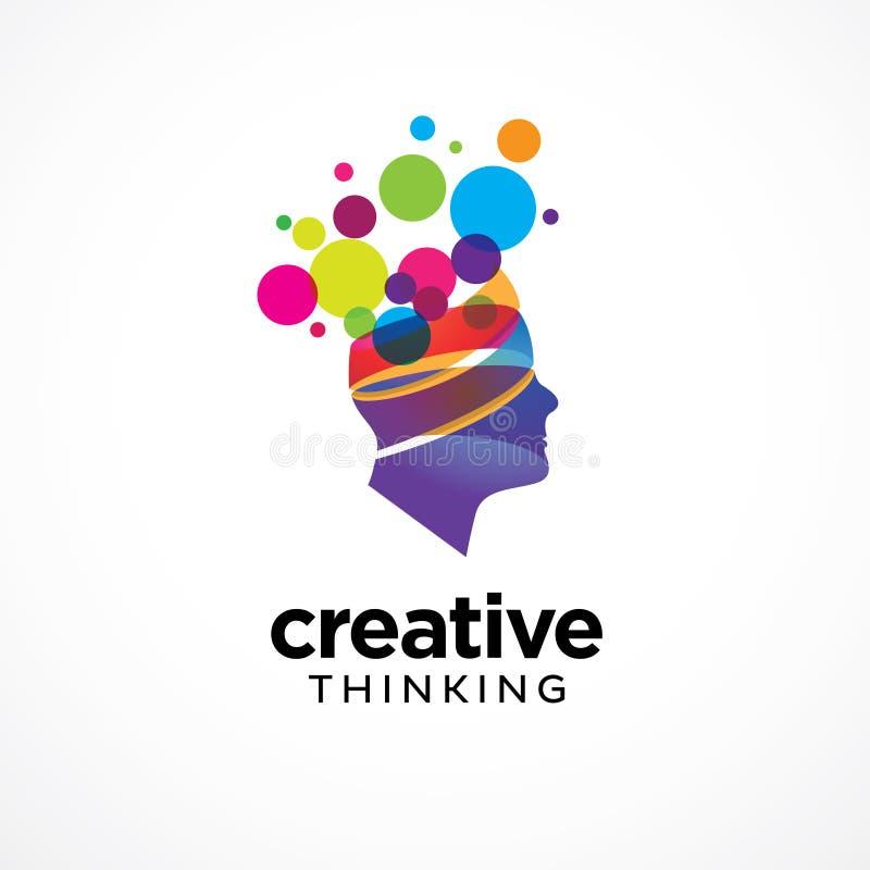 Molde colorido criativo do logotipo da cabeça humana ilustração royalty free