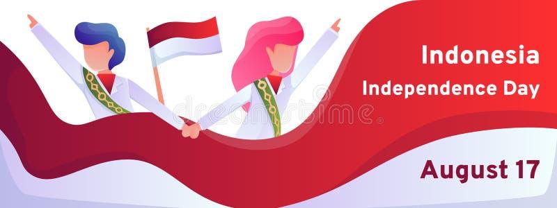 Molde colorido da bandeira do vetor do Dia da Independência de Indonésia com os povos em trajes nacionais ilustração royalty free