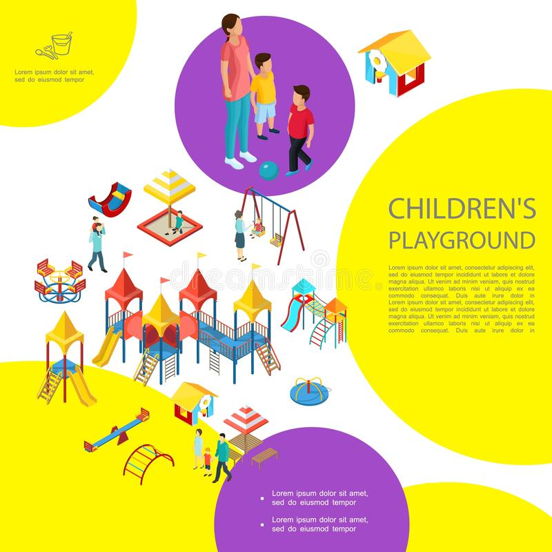 Molde colorido do campo de jogos isométrico das crianças ilustração royalty free