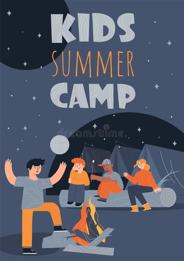 Molde colorido do cartaz do acampamento de verão das crianças com as crianças, sentando-se perto de uma fogueira ilustração do vetor