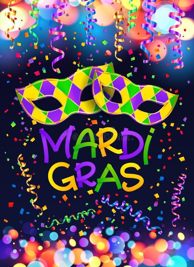 Molde colorido do cartaz e do inseto de Mardi Gras com máscaras, serpentina e confetes do carnaval ilustração royalty free