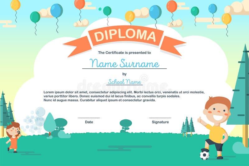 Molde colorido do certificado do diploma do acampamento de verão das crianças no estilo dos desenhos animados ilustração royalty free