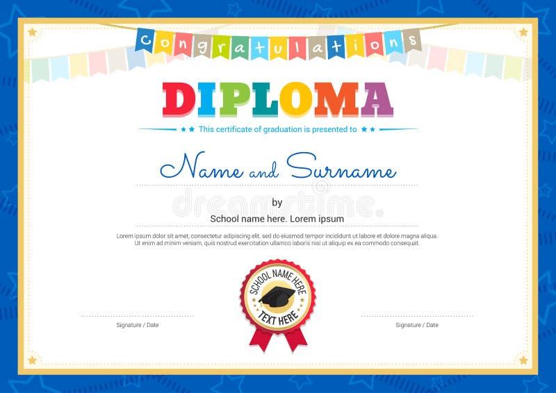 Molde colorido do certificado do diploma para crianças no vetor ilustração royalty free