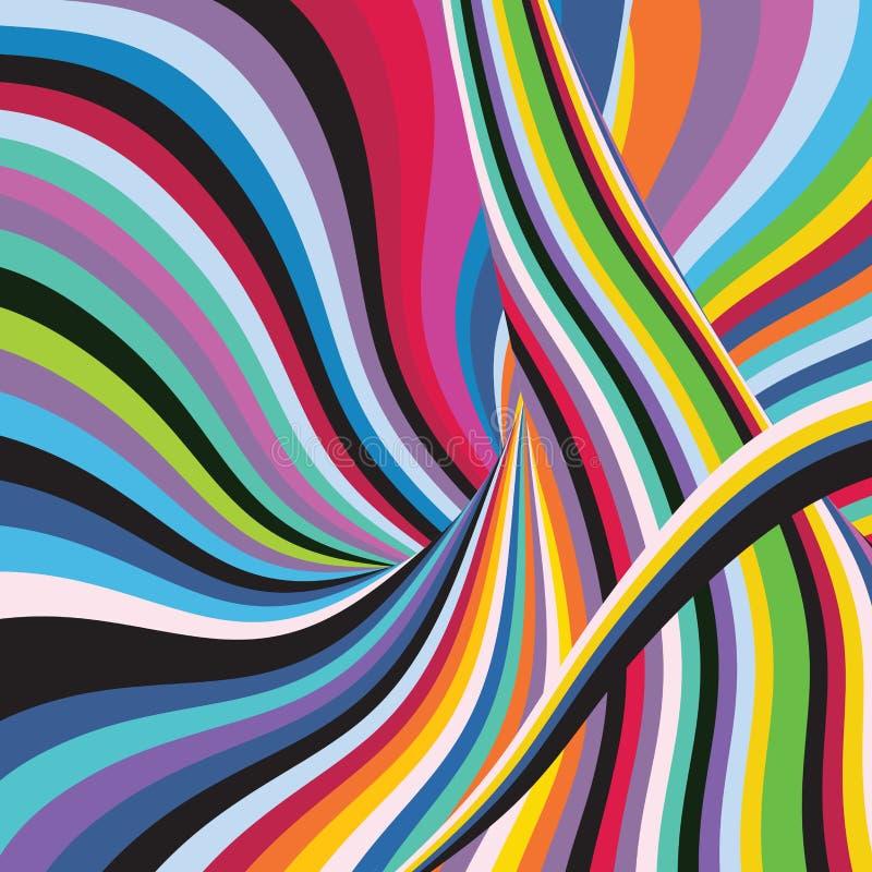 Molde colorido do fundo da tempestade da onda da listra do arco-íris do sumário ilustração royalty free