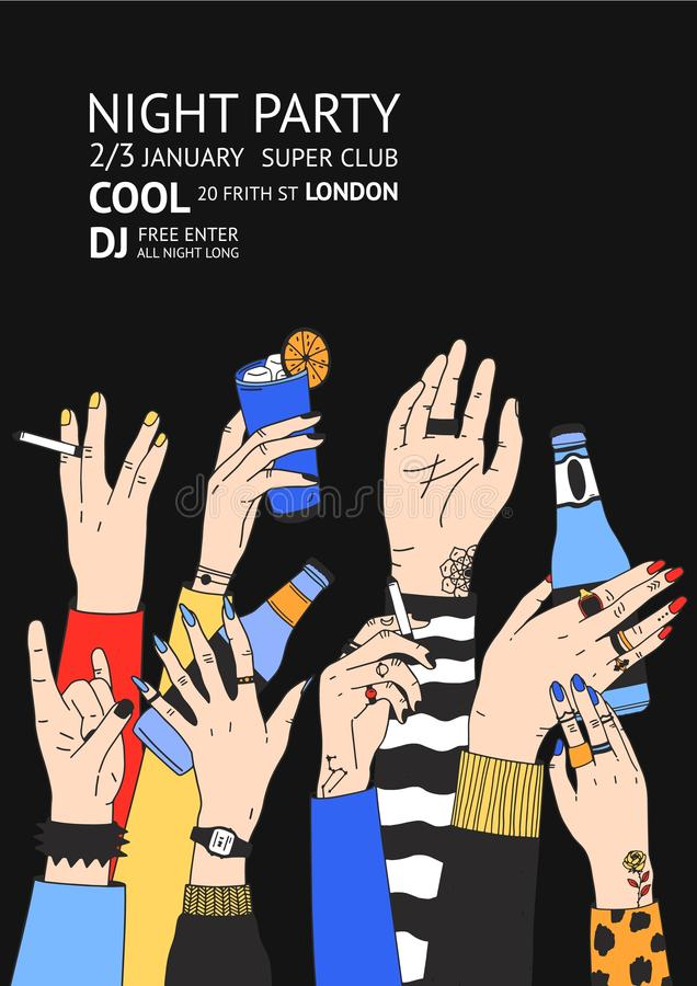 Molde colorido do inseto ou do cartaz para o dance party com as mãos masculinas e fêmeas levantadas que guardam bebidas, cocktail ilustração royalty free