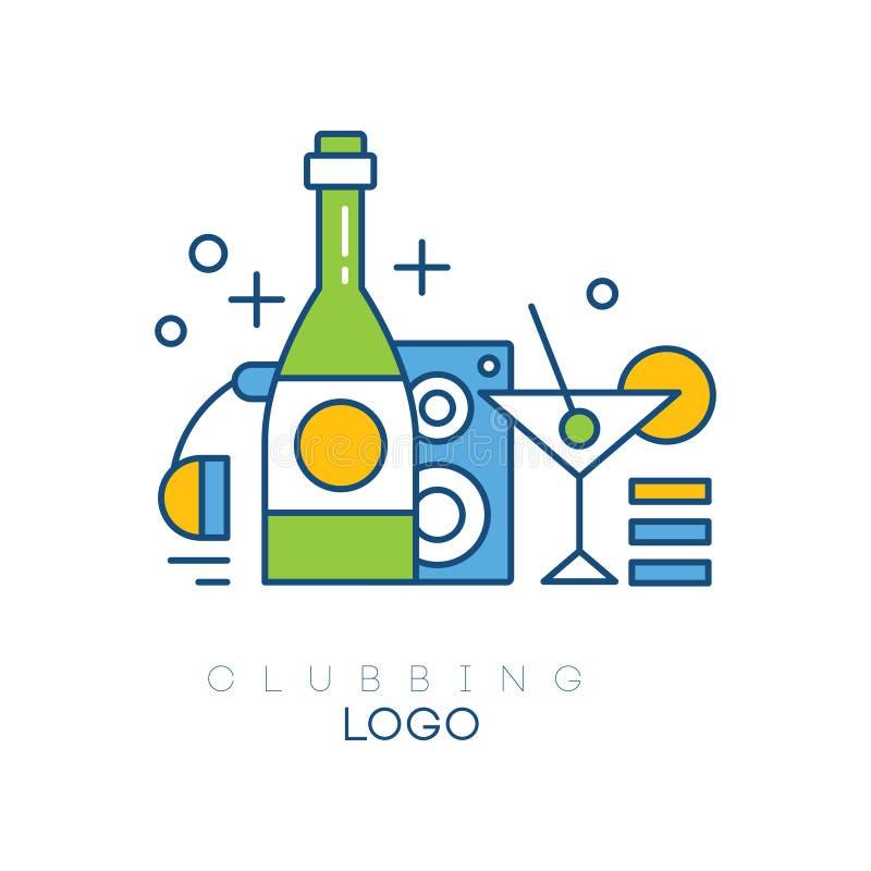 Molde colorido do logotipo do passatempo Emblema linear do vetor com fones de ouvido, garrafa com bebida alcoólica, subwoofer e v ilustração stock