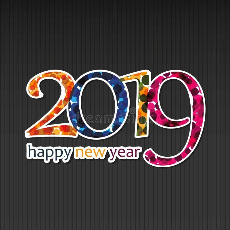 Molde colorido do projeto do cartão, da tampa ou do fundo do ano novo feliz - 2019 ilustração royalty free