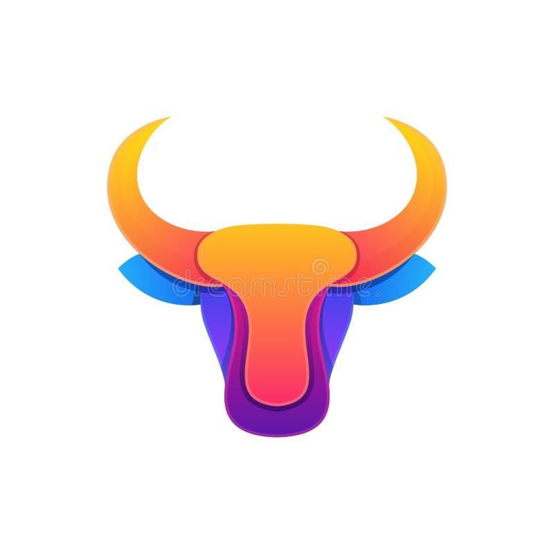 Molde colorido do vetor da ilustração do projeto da cabeça abstrata de Bull ilustração do vetor
