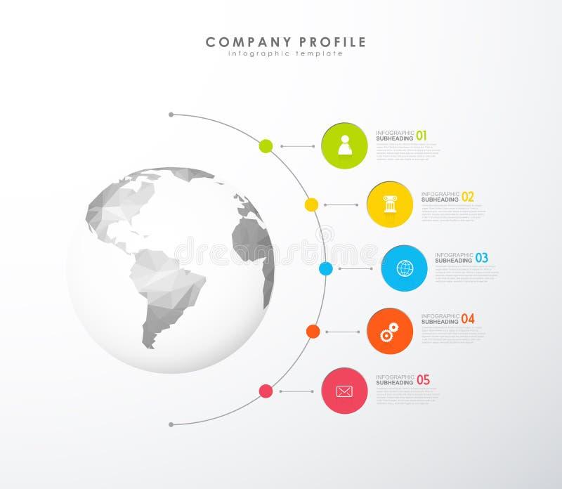 Molde colorido do vetor do perfil da empresa de Infographic com ícones ilustração royalty free