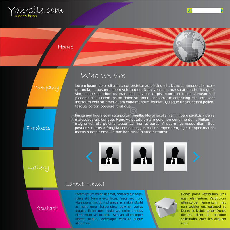 Molde colorido do Web site com estouro do globo ilustração stock