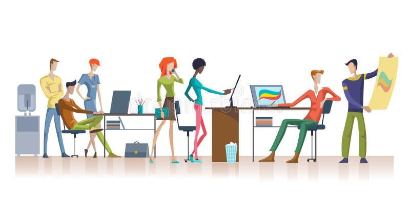 Molde colorido dos trabalhos de equipa do escritório ilustração do vetor