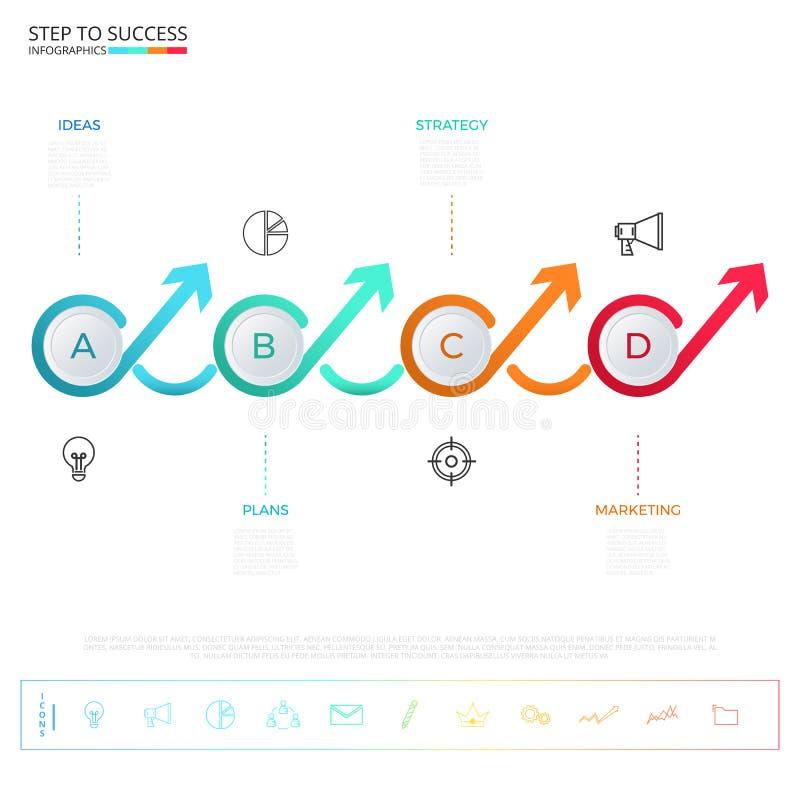Molde colorido moderno do infographics da seta do círculo do espaço temporal do negócio com ícones e elementos ilustração royalty free