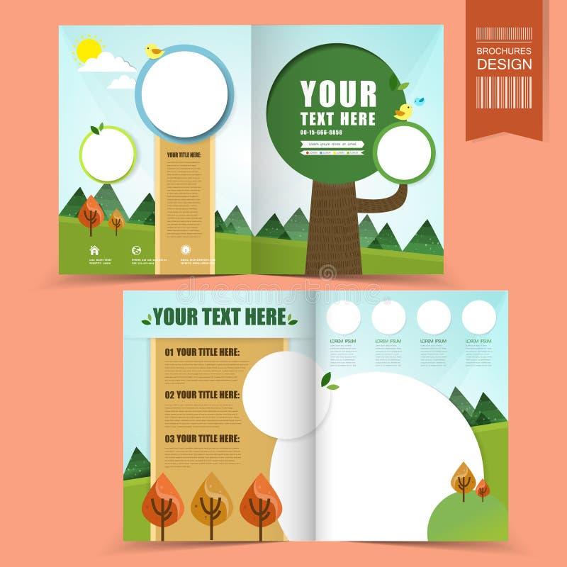 Molde colorido para o folheto do conceito da ecologia ilustração do vetor