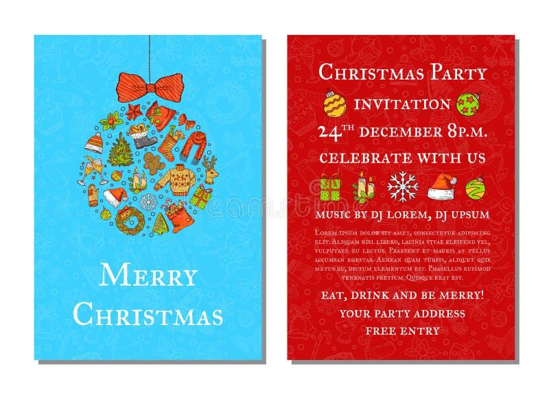 Molde colorido tirado mão do convite da festa de Natal do vetor ilustração royalty free