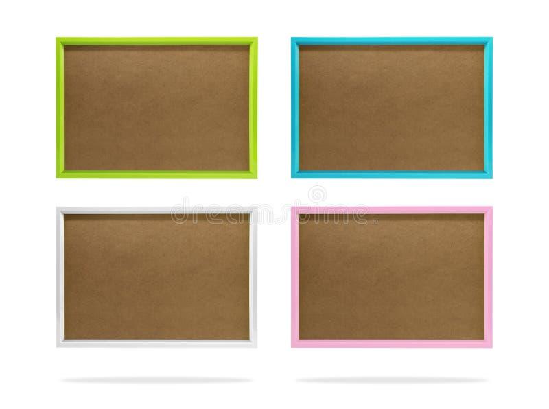 Molde colorido vazio do quadro da foto ajustado no fundo isolado com trajeto de grampeamento Beira plástica simples para seu proj imagem de stock