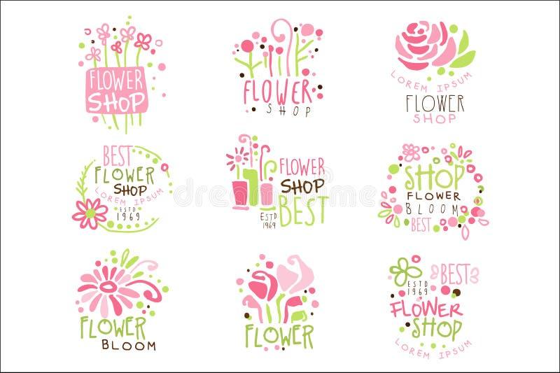 Molde colorido verde e cor-de-rosa Logo Set do florista do projeto gr?fico, est?ncis tirados m?o do vetor ilustração stock