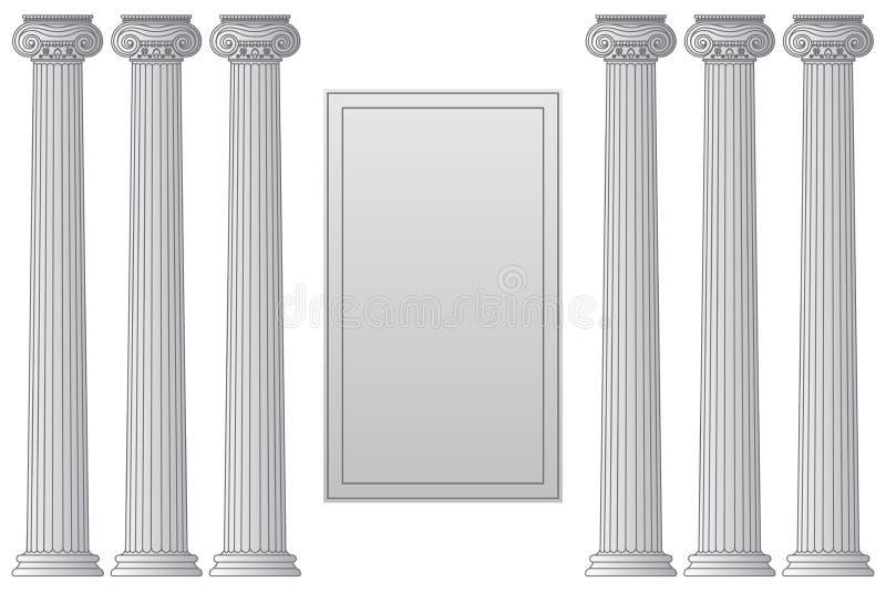 Molde com as colunas gregas antigas hist?ricas com lugar para a linha ilustra??o do vetor do texto ilustração royalty free