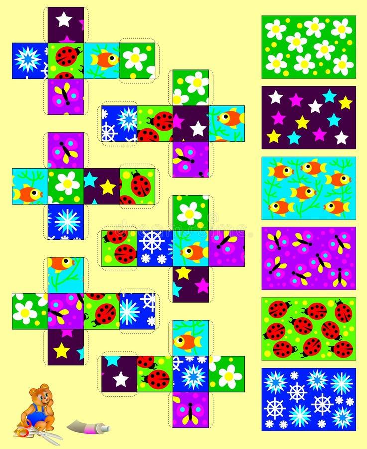 Molde com exercício para crianças Cortado e cole os seis cubos, a seguir recolha seis imagens ilustração do vetor