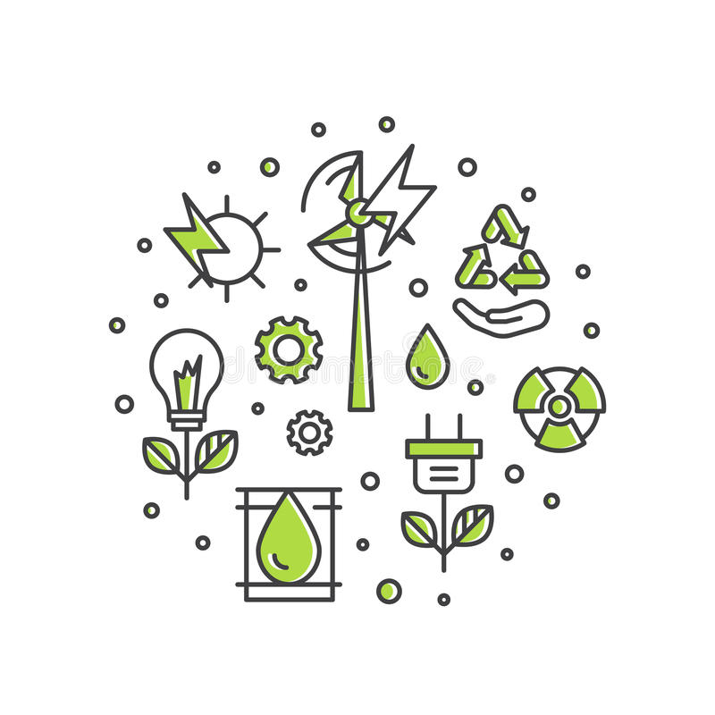 Molde com linha fina ícones de ambiente, energia renovável, tecnologia sustentável, reciclando ilustração stock