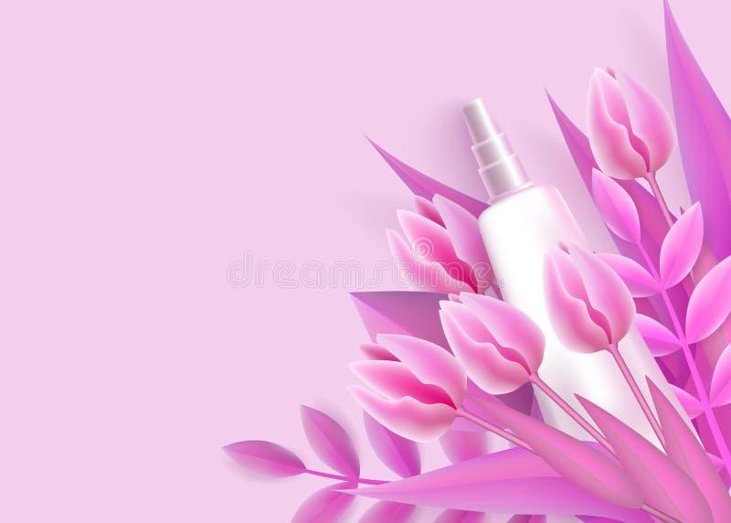Molde com o modelo de empacotamento do tubo branco e estilo realístico das flores do rosa ilustração do vetor