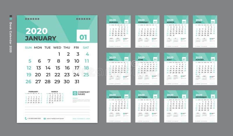 Molde 2020, começos do calendário de mesa da semana em domingo Grupo de 12 meses Molde do planejador Fundo verde vetor vertical d ilustração do vetor