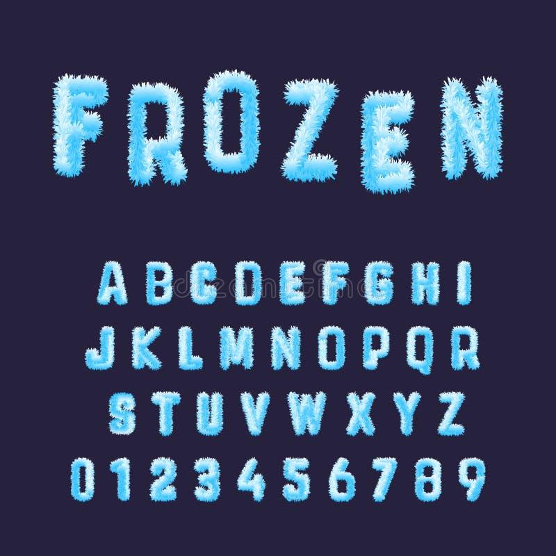 Molde congelado do alfabeto da fonte Ajuste dos números e das letras brancos azuis da geada ilustração stock