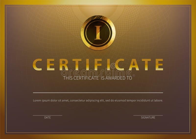 Molde conservado em estoque do certificado da ilustração do vetor com teste padrão luxuoso e moderno, diploma Certificado horizon ilustração royalty free