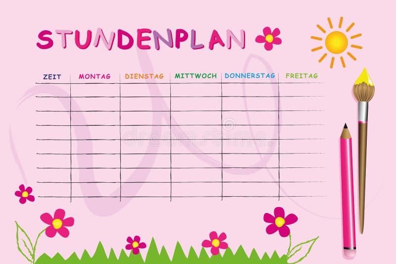 Molde cor-de-rosa do calendário da escola com flores ilustração do vetor