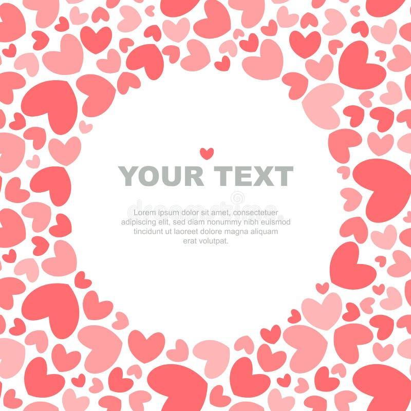 Molde coral do cartão dos corações ilustração stock